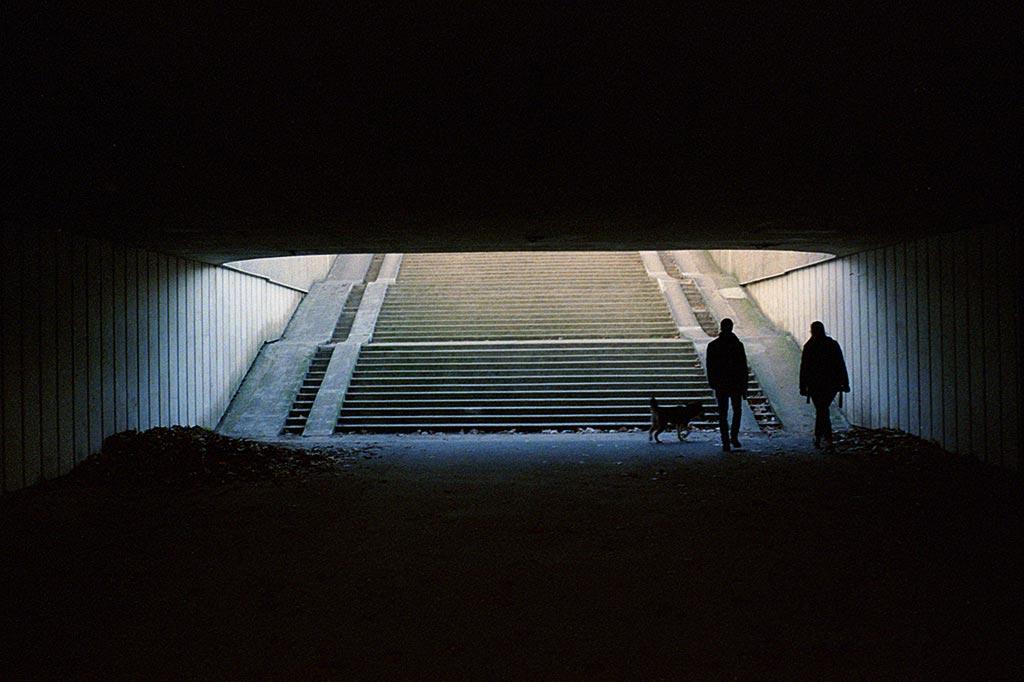 Contre-jour dans les escaliers. Kodak 400 iso.